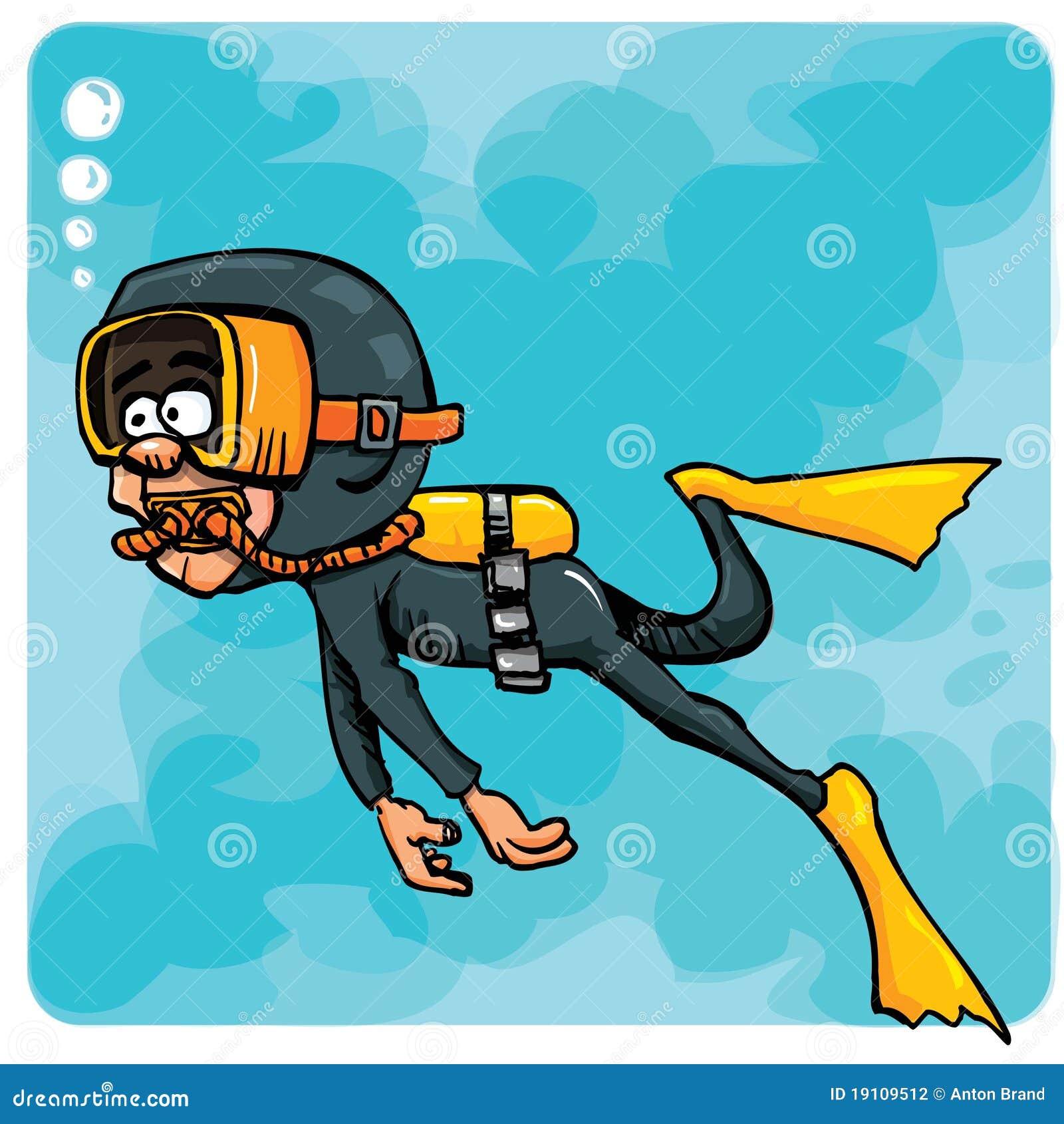 Natation de plongeur de dessin anim sous marine - Dessin plongeur ...