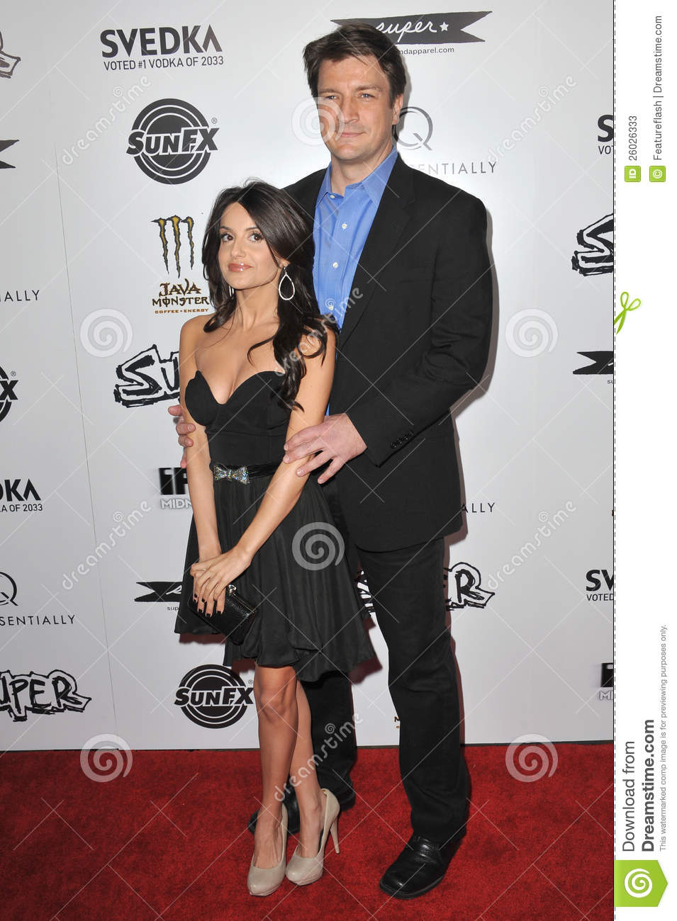 Nathan Fillion,Mikaela Hoover Editorial Stock Photo - Image: 26026333