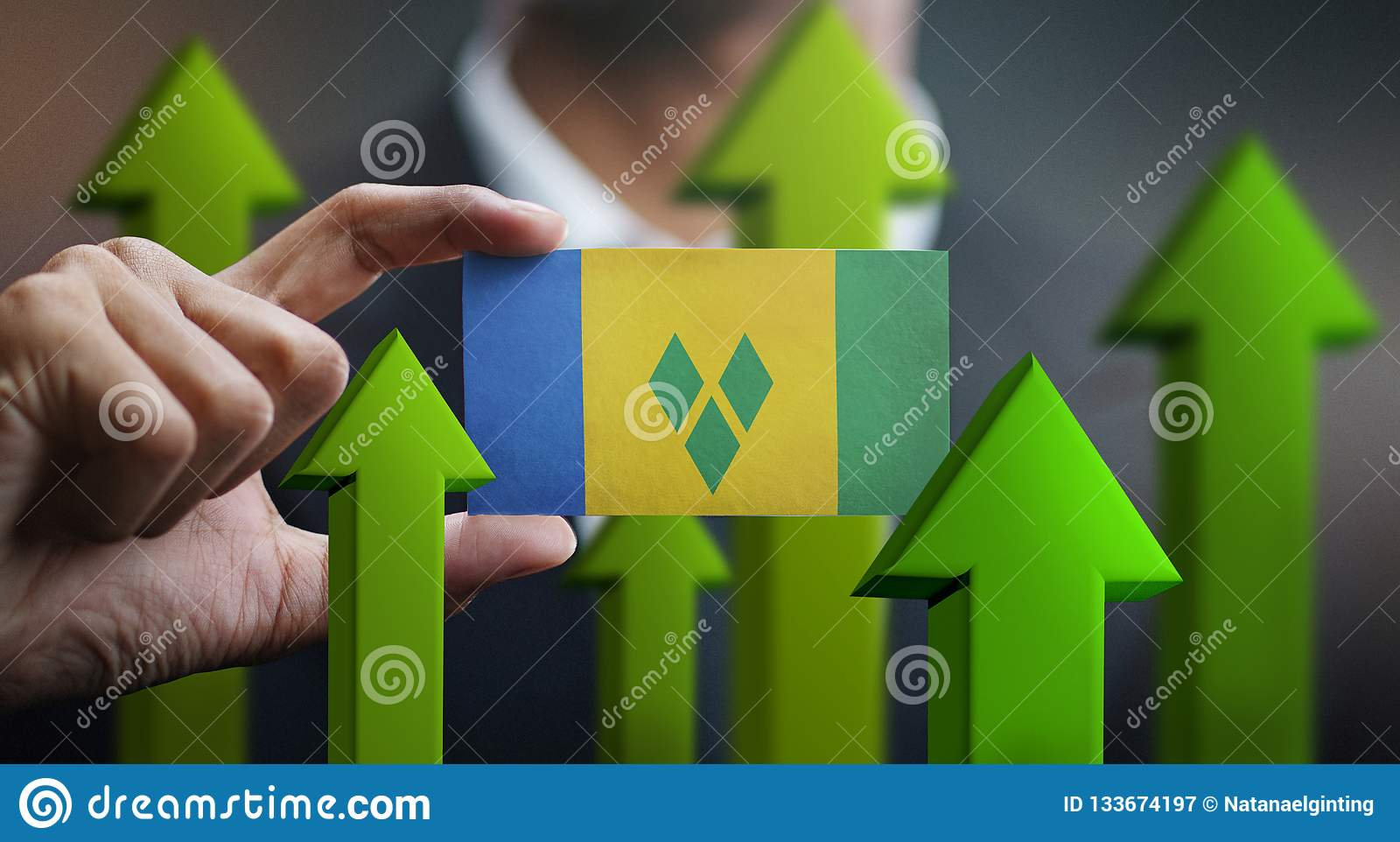 Nation Growth Concept, Green Up Arrows - Businessman Holding Car