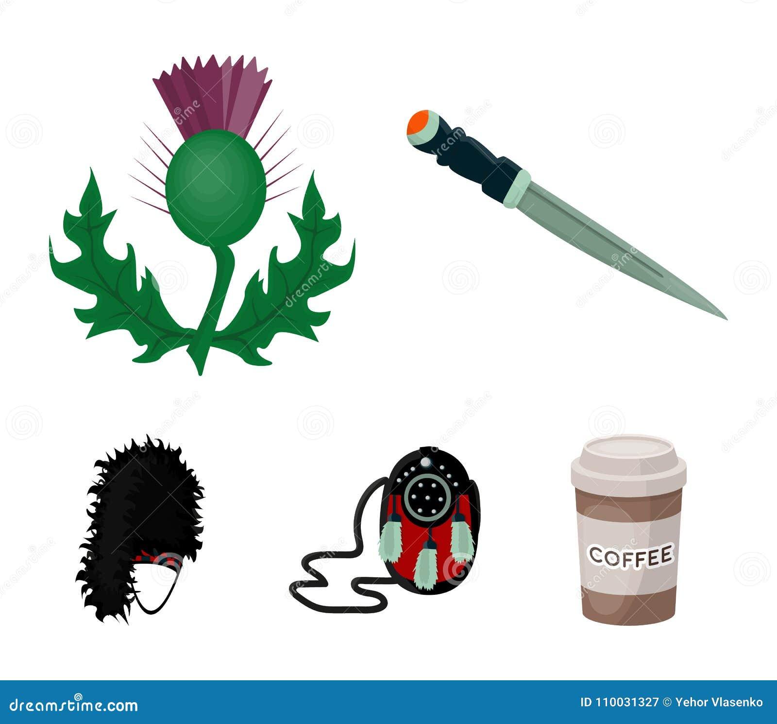 Nationaal Dirk Dagger, Distel Nationaal Symbool, glengarry Tasje, Vastgestelde de inzamelingspictogrammen van Schotland in de vec