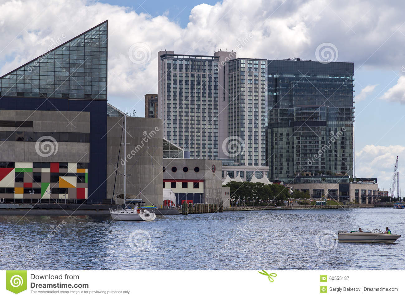 National Aquarium and office buildings at Inner Harbor of Baltimore, USA