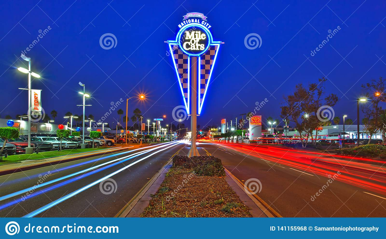 Mile Of Cars >> The National City Mile Of Cars Urban Neon Sign Editorial