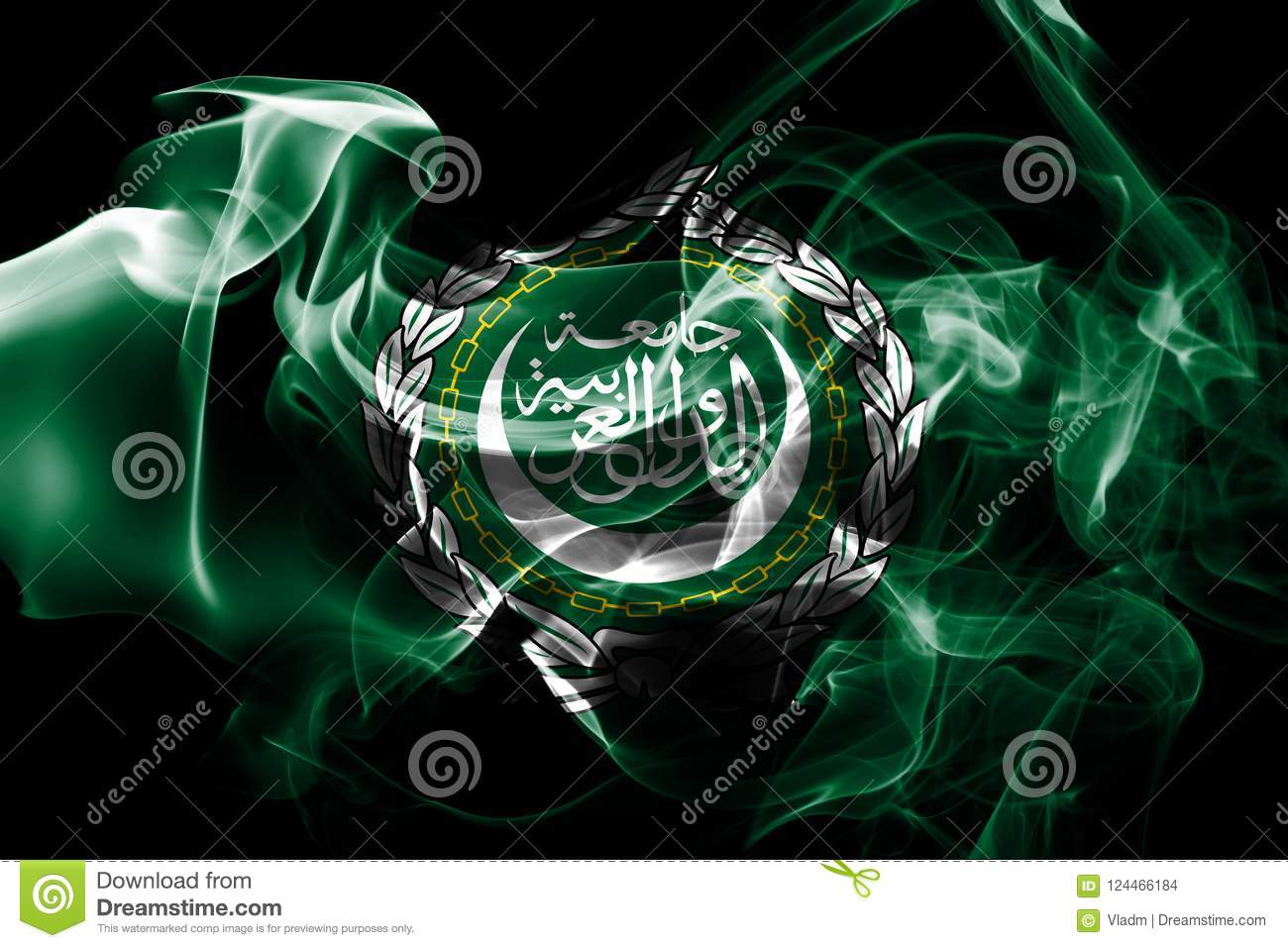 National flag of Arab League made from colored smoke isolated on black background
