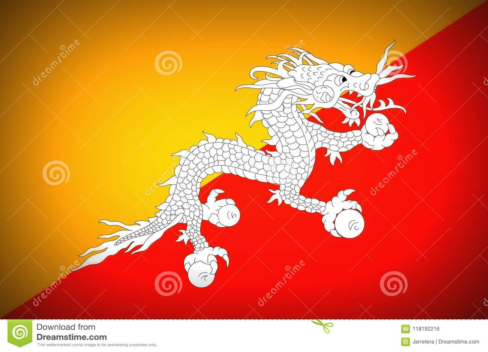 National flag of Bhutan stock illustration  Illustration of