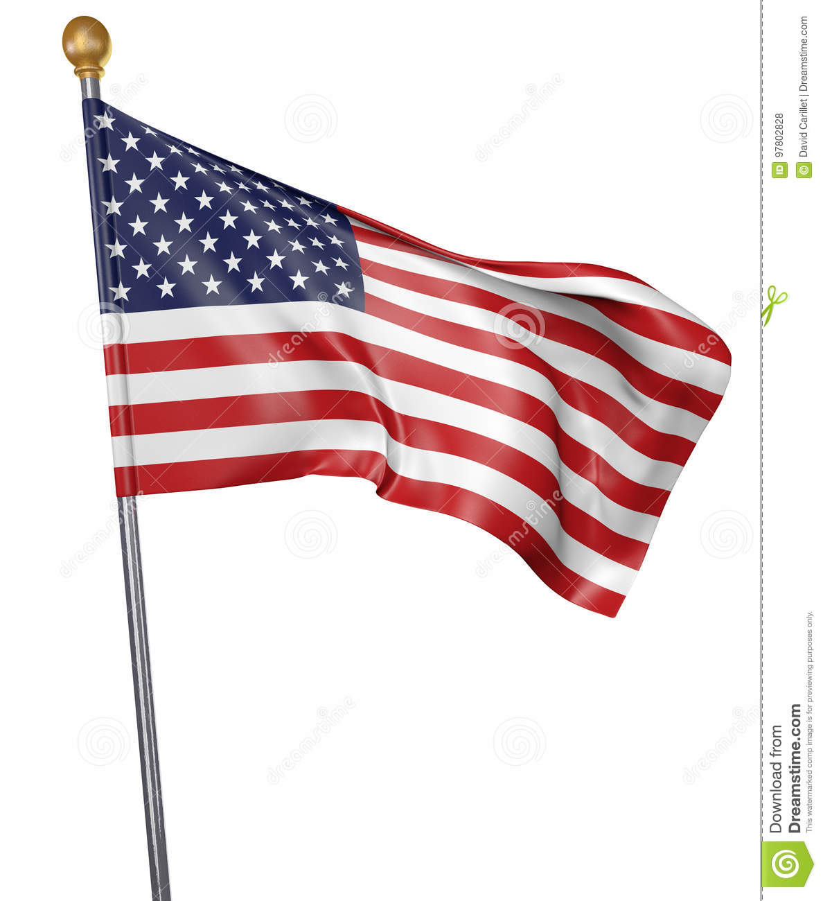 National flag for country of United States isolated on white background