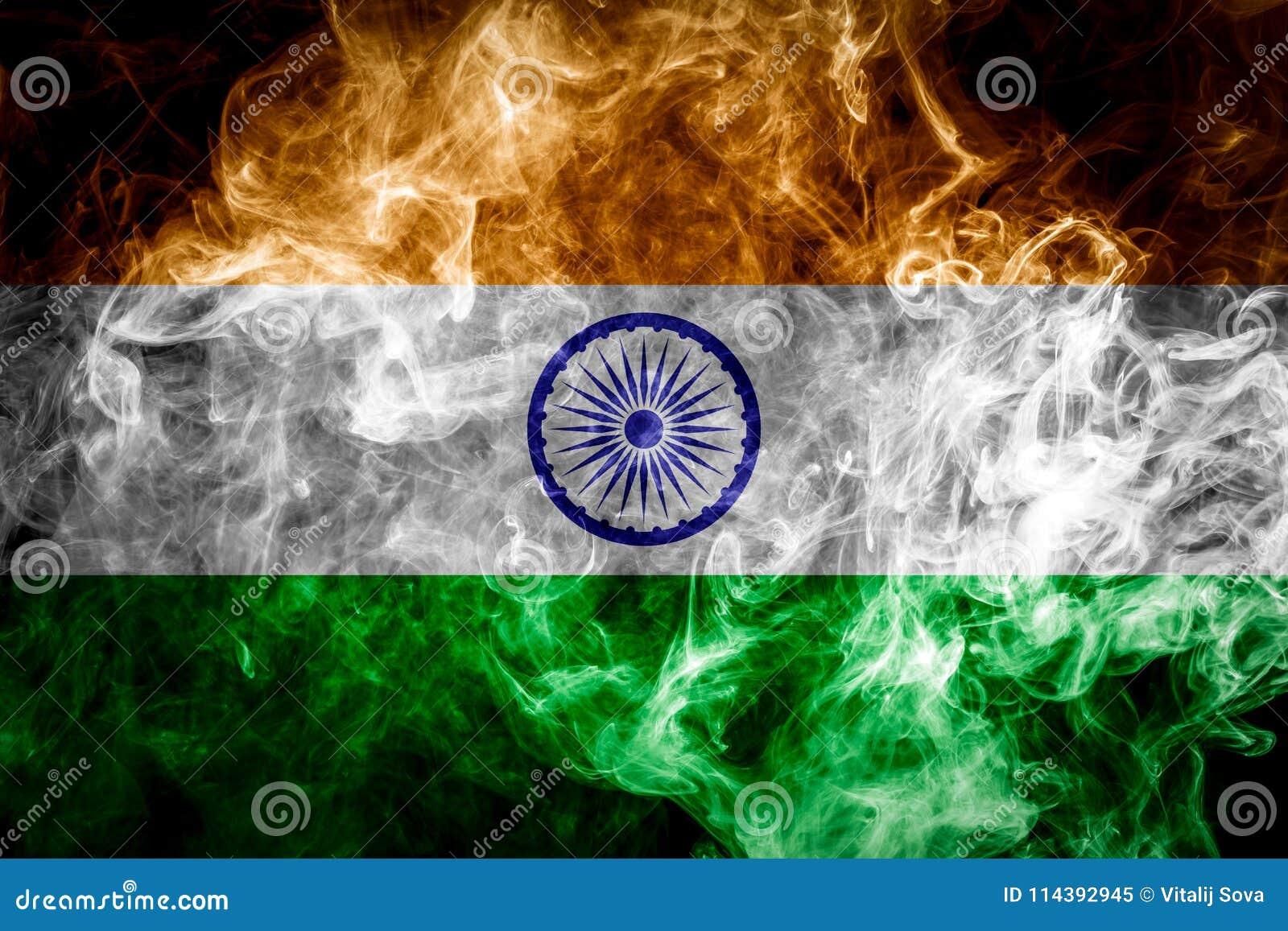 India Flag Black: Painting Flag India Stock Photos