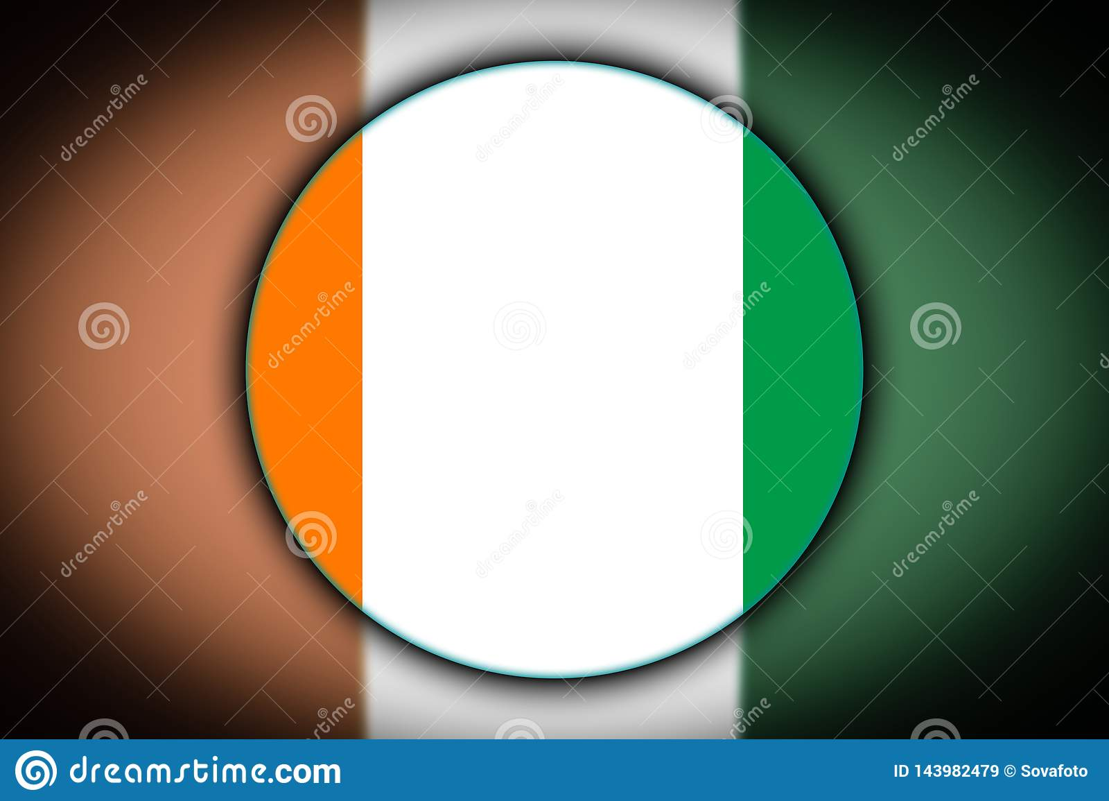 Flag in the shape of a circle.