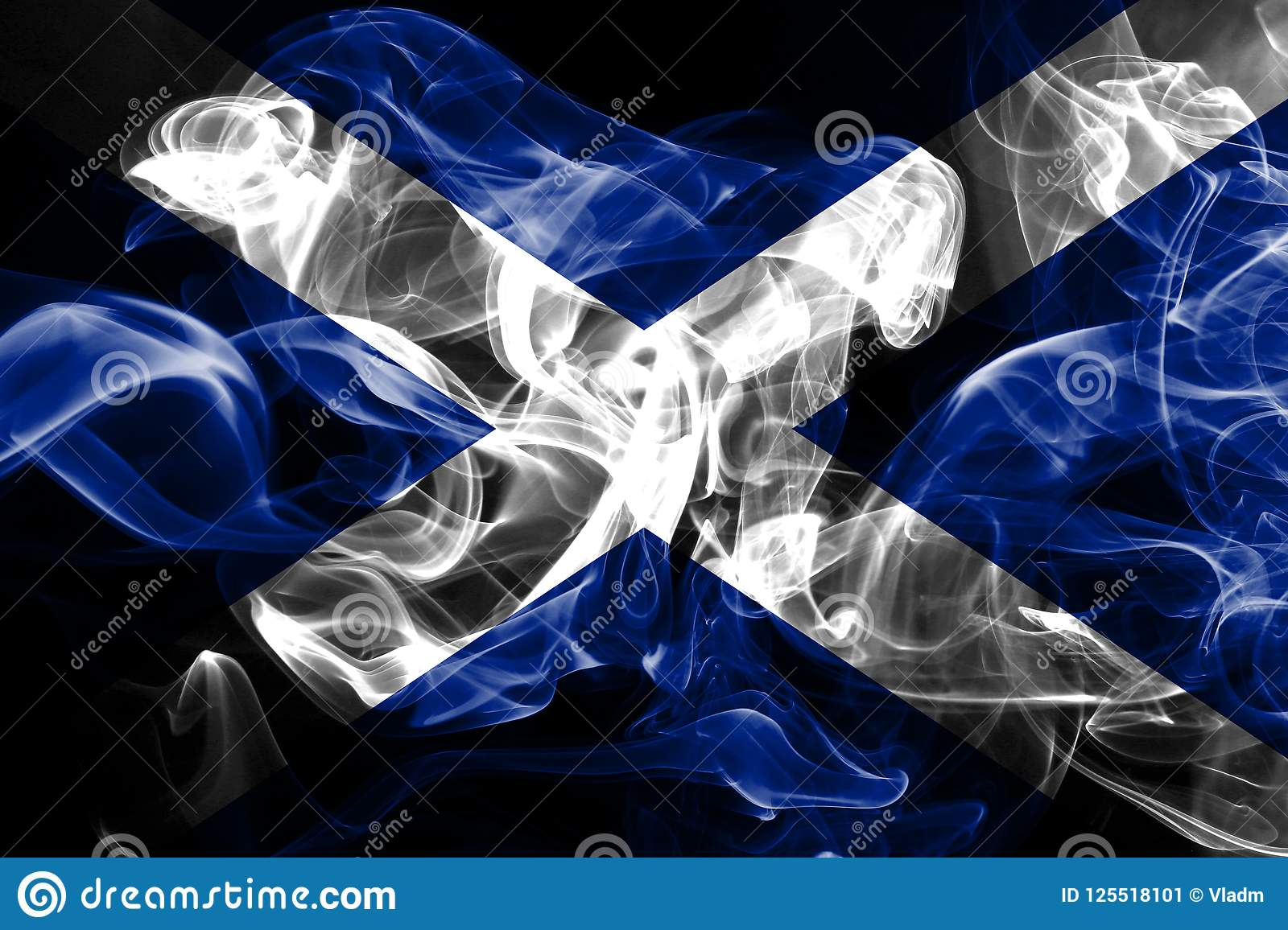 National flag of Scotland made from colored smoke isolated on black background