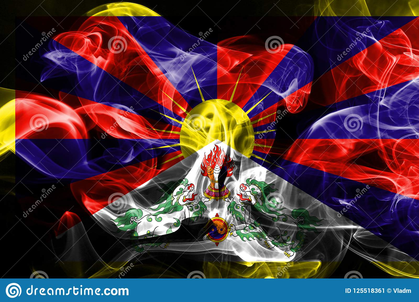 national flag of tibet made from colored smoke isolated on black
