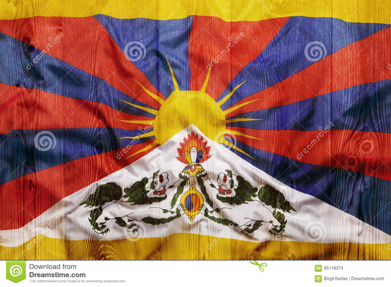 national flag of tibet wooden background stock photo image of
