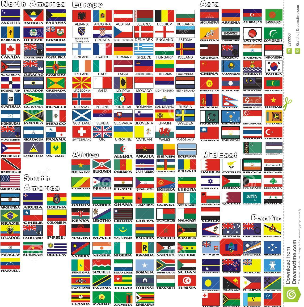 the national flags of all countries of the world stock vector