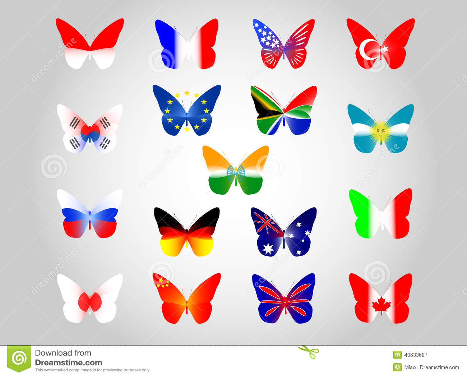 Indian Flag Butterflies: National Flags Stock Vector