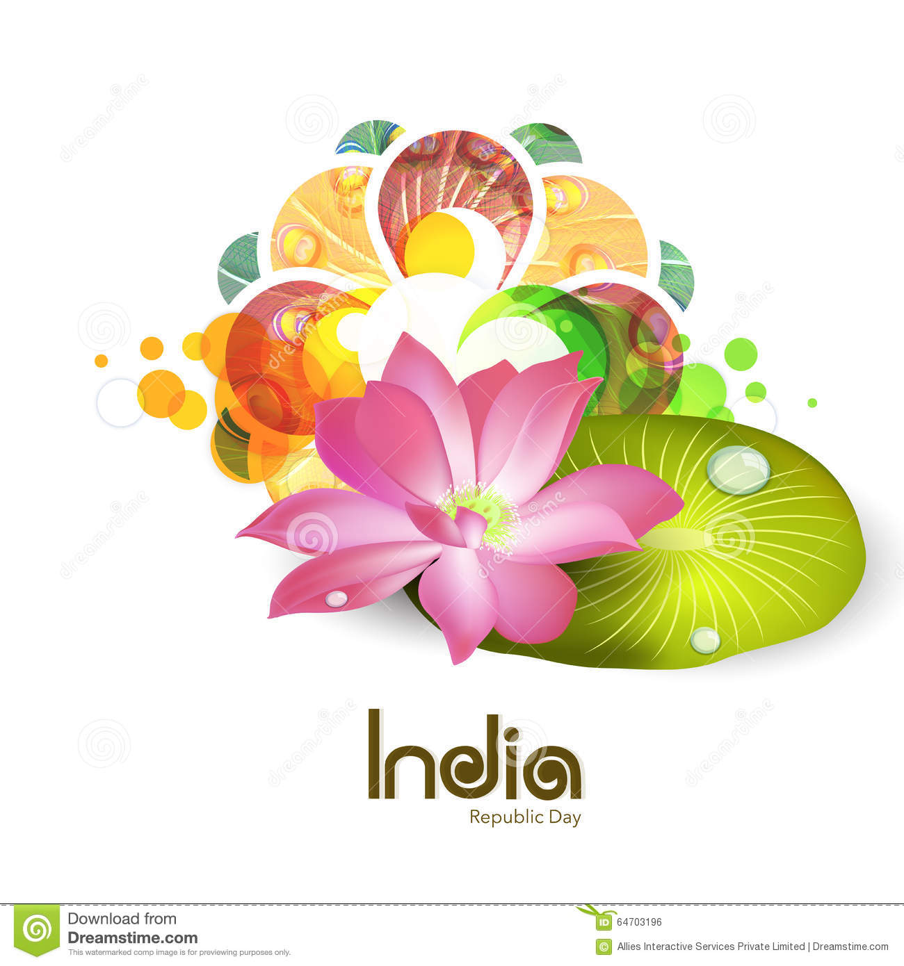 National Flower Lotus For Indian Republic Day Celebration Stock