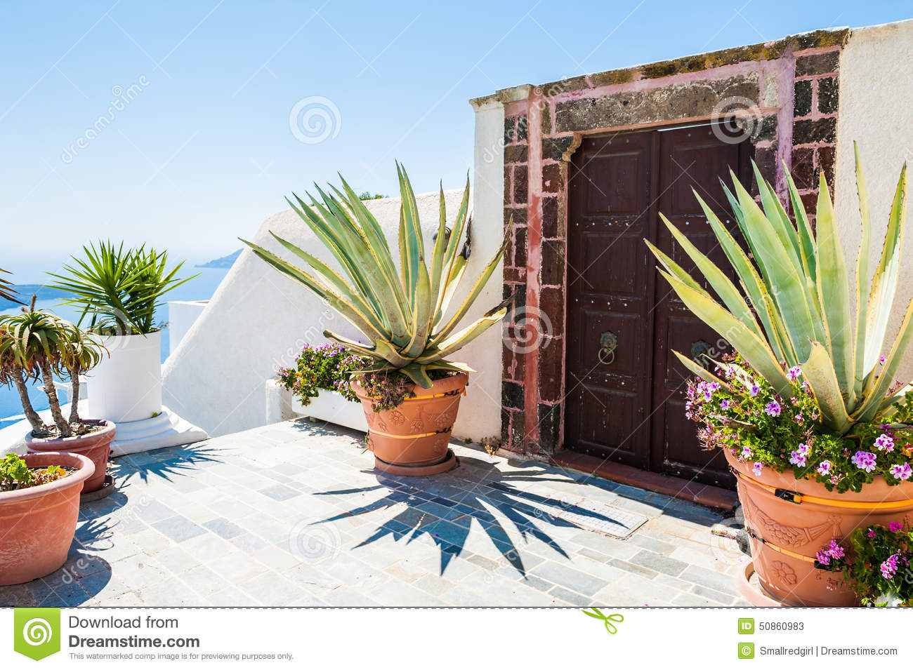 National greek architecture terrace with flowers stock photo image