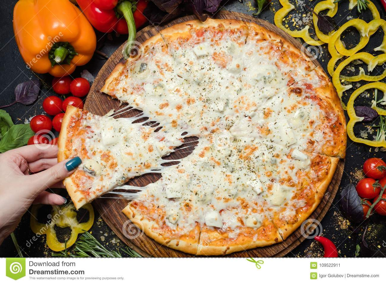 National italian meal pizza slice melted cheese