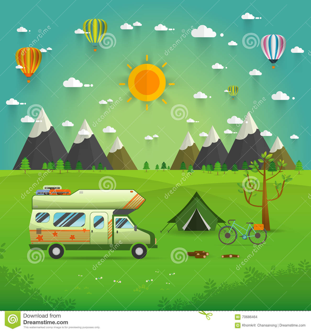 national mountain park camping scene vector illustration motorhome clipart images Motorhome Camping