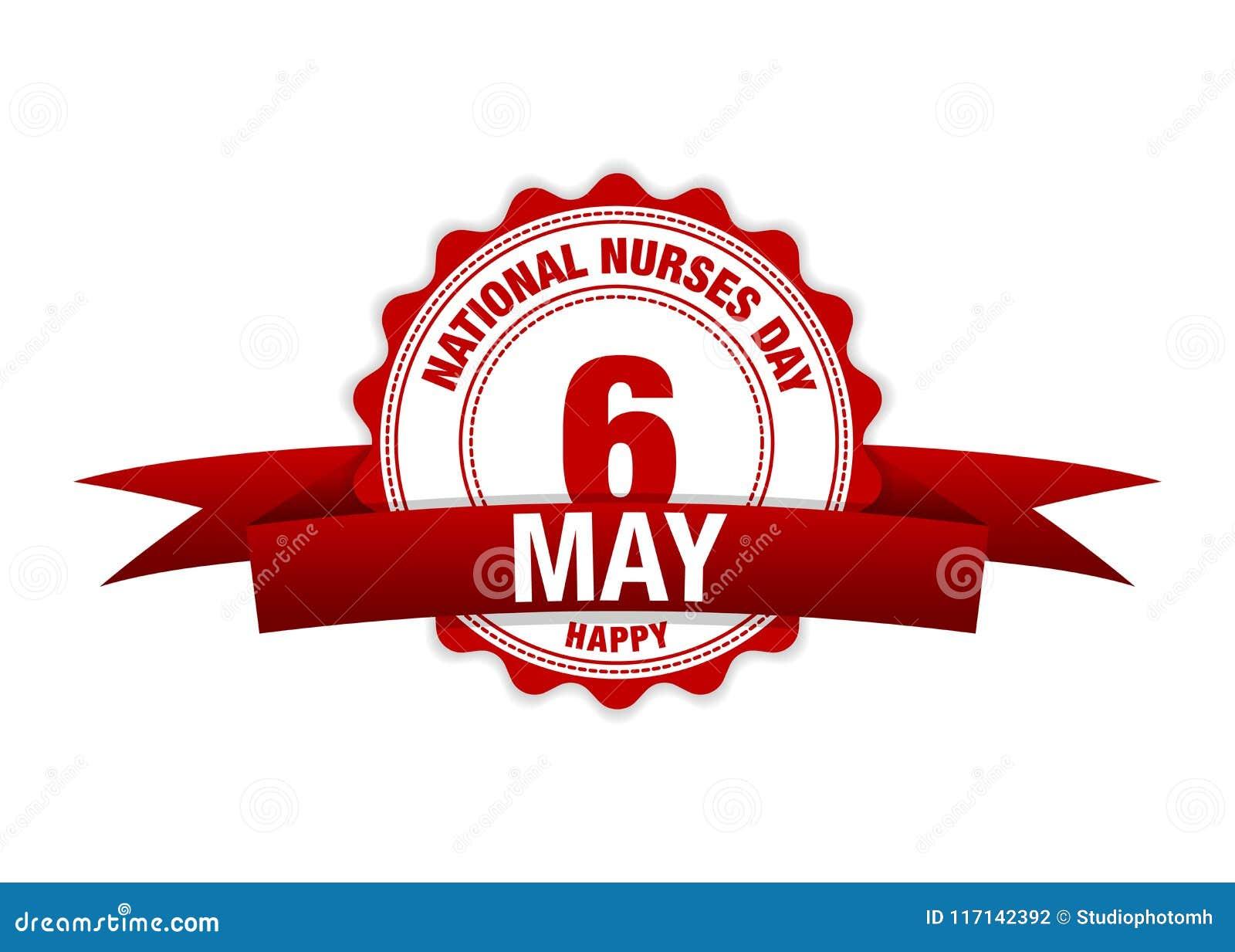 National Nurses Day. 6 May ribbon calendar. vector red