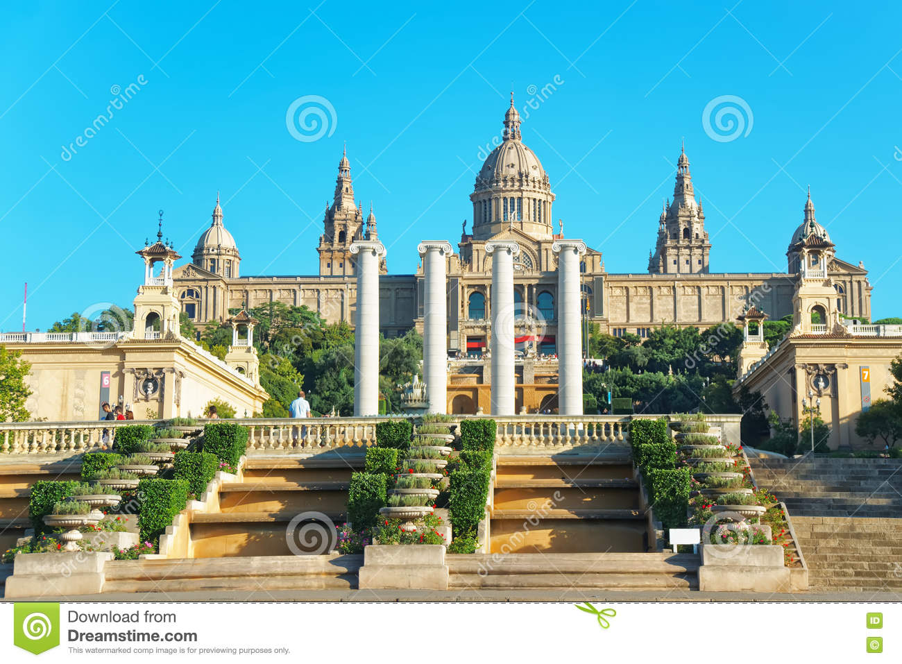 National Palace on Montjuic hill in Barcelona of Spain