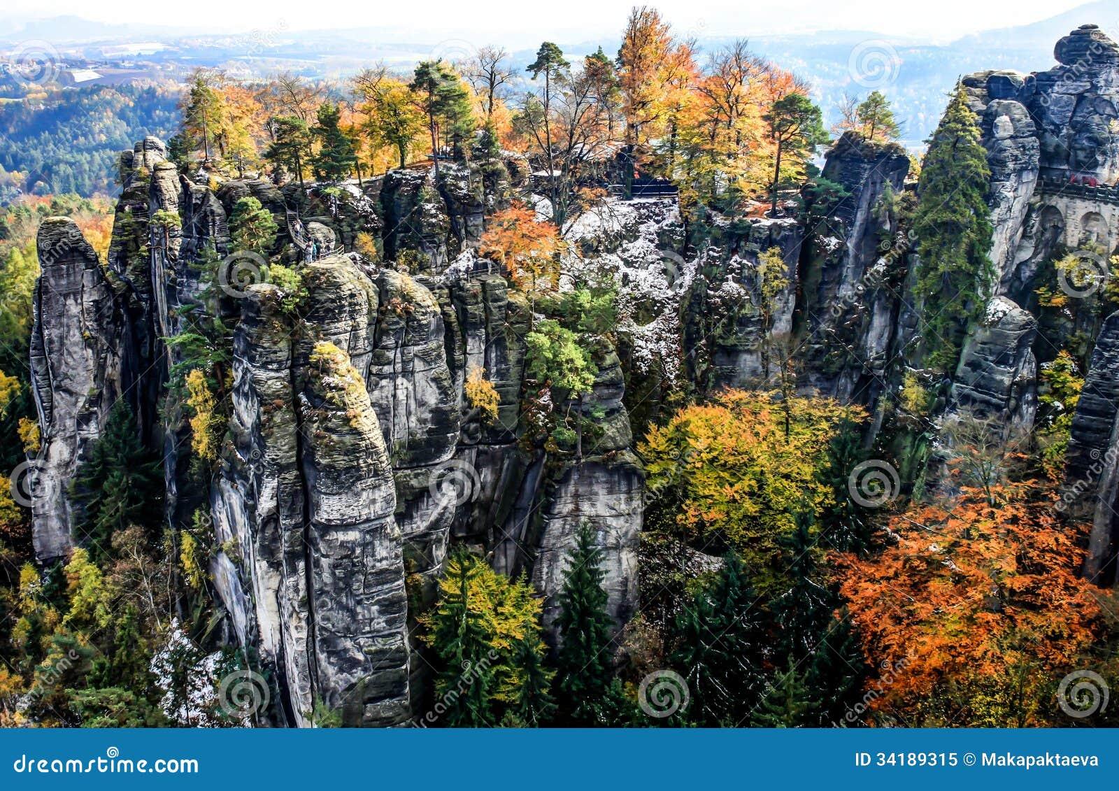 Nationaal Park Saksisch Zwitserland Bastei In Duitsland