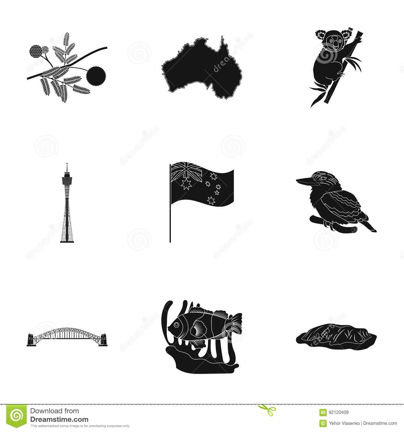 Download National Symbols Of Australia. Web Icon On Australia Theme. Australia Icon In Set Collection On Black Style Vector Stock Vector - Illustration of butter, ancient: 92120409