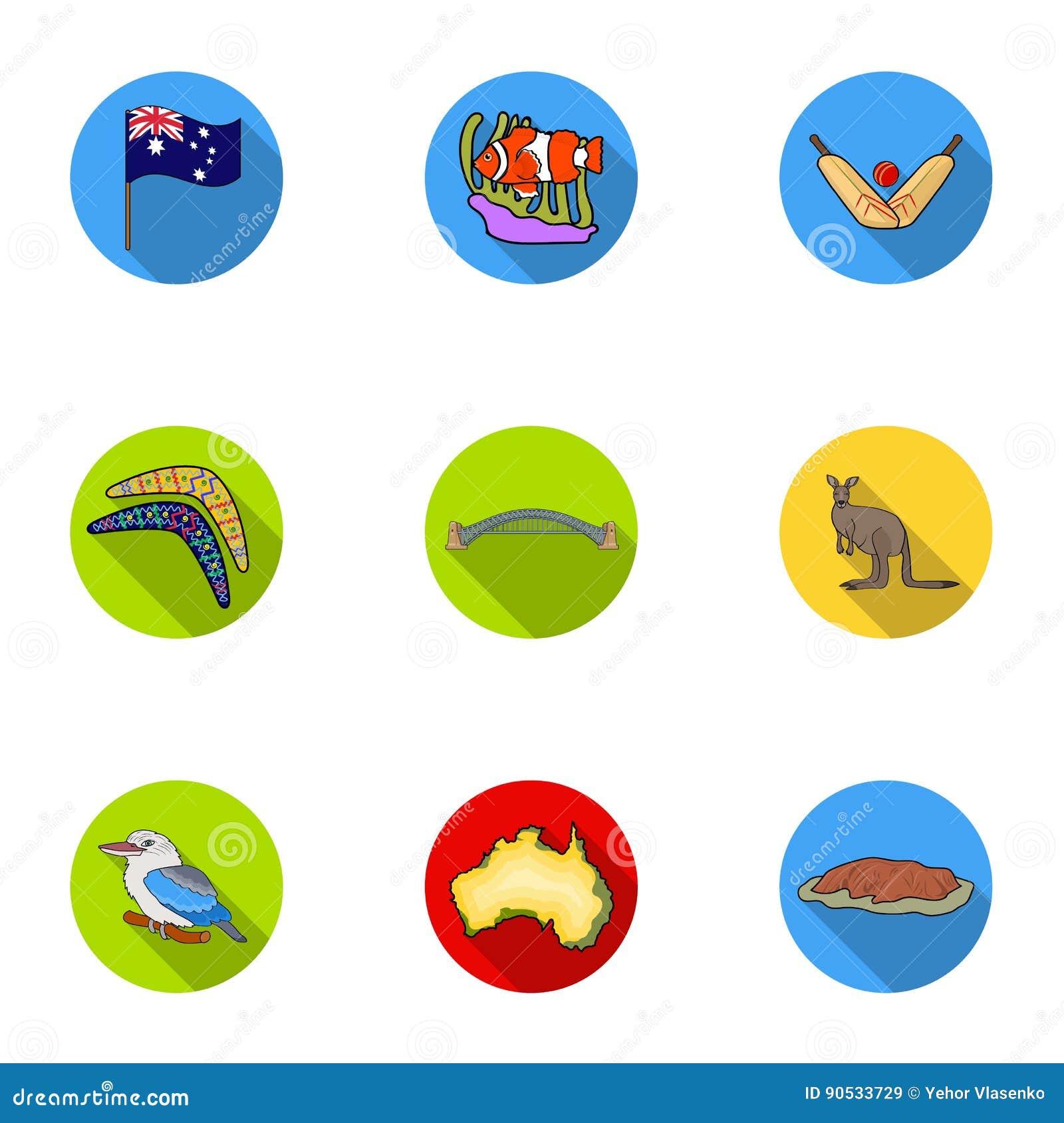 National Symbols Of Australia Web Icon On Australia Theme