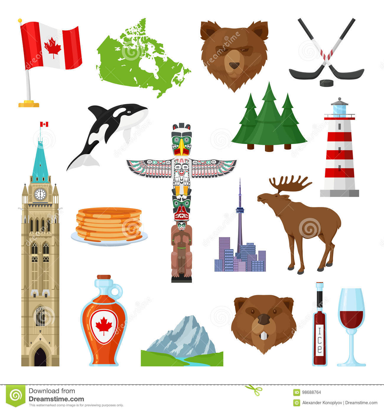 National Symbols Of Canada Set Stock Vector Illustration Of