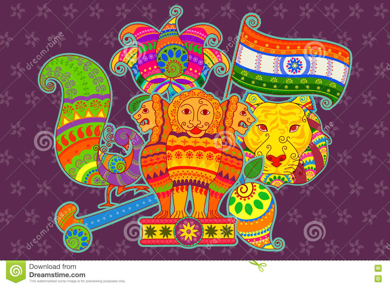 National Symbols Of India In Indian Art Style Stock Vector