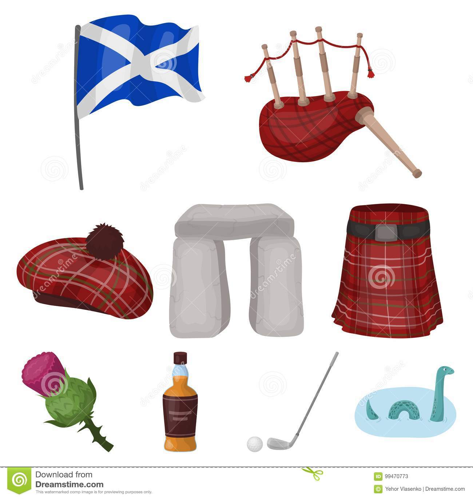 National Symbols Of Scotland Stock Vector Illustration Of Stick
