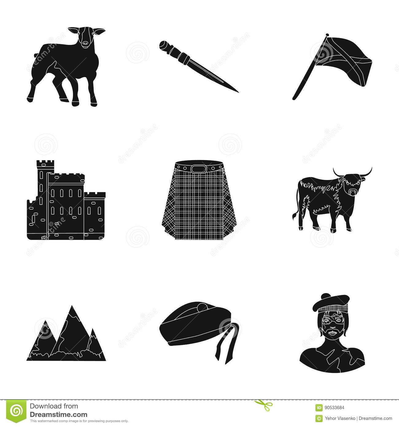 National symbols of scotland scottish attractions scotland country national symbols of scotland scottish attractions scotland country icon in set collection on black style vector symbol buycottarizona Image collections