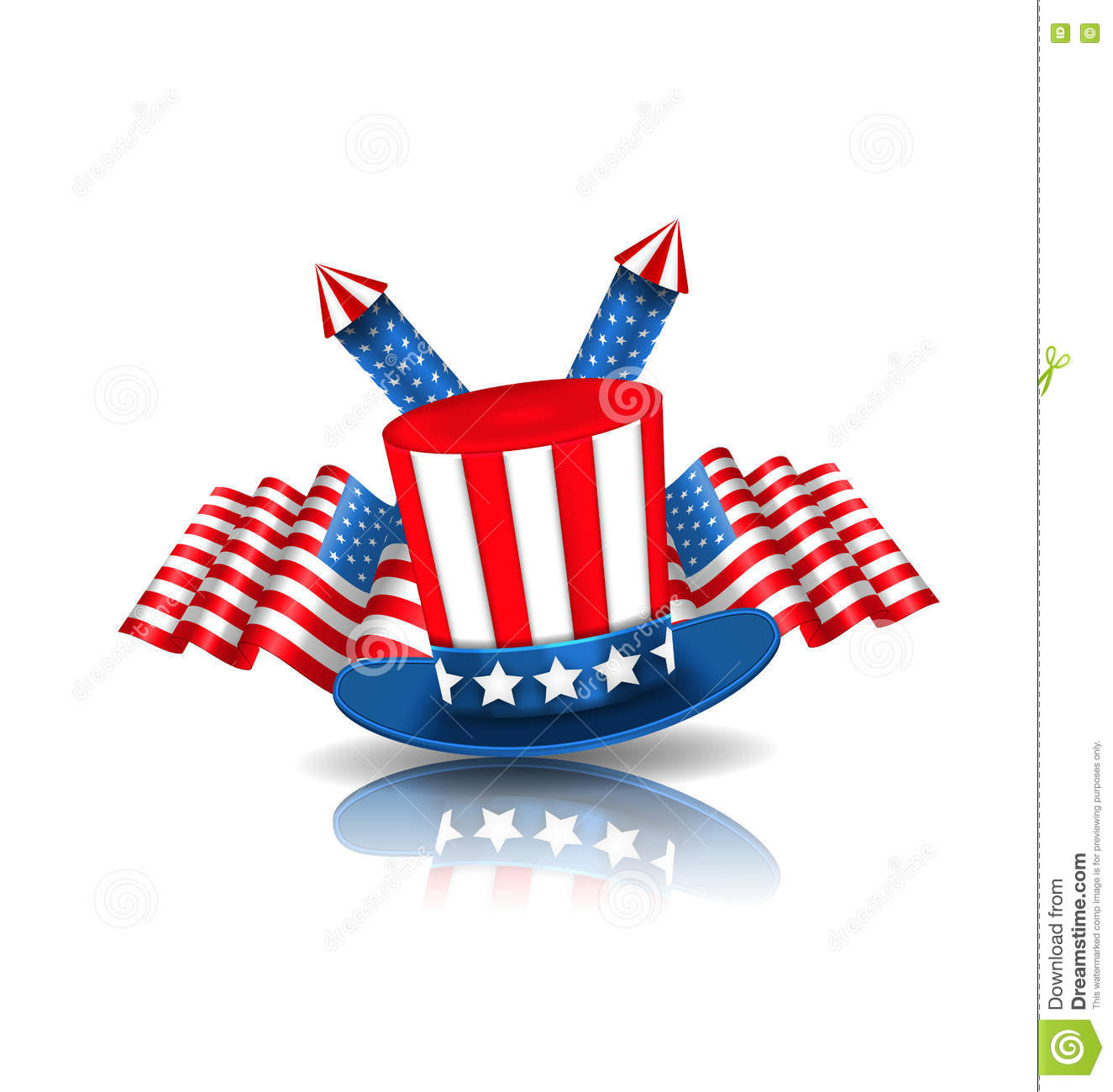 National Symbols Of Usa In American Colors Stock Vector
