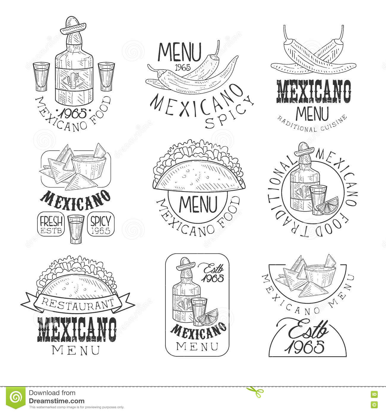 National Traditional Mexican Cuisine Restaurant Hand Drawn Black And ...