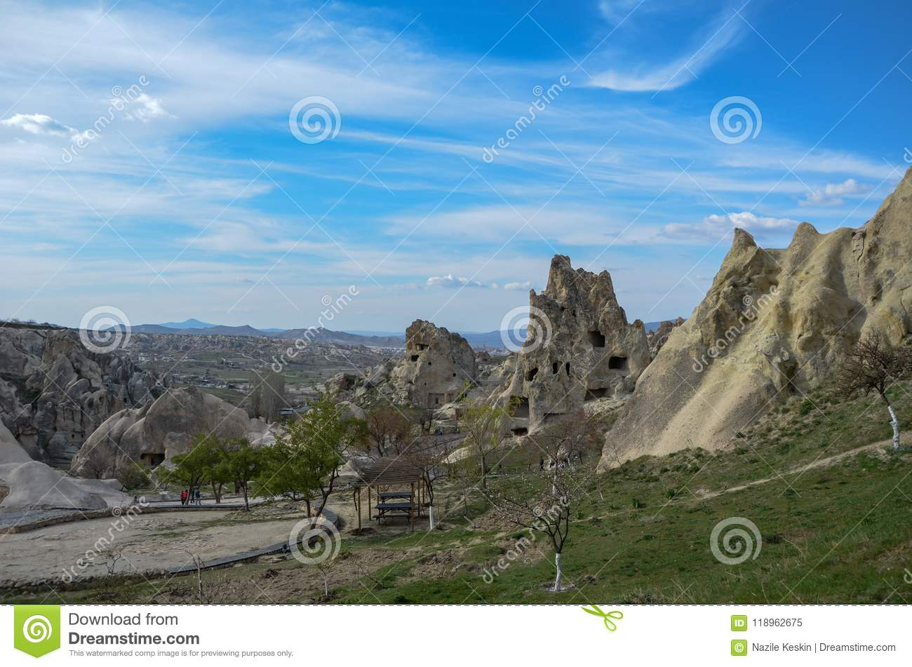 National Volcanic rocks with ancient cave houses in Goreme/ Cappadocia -Turkey.