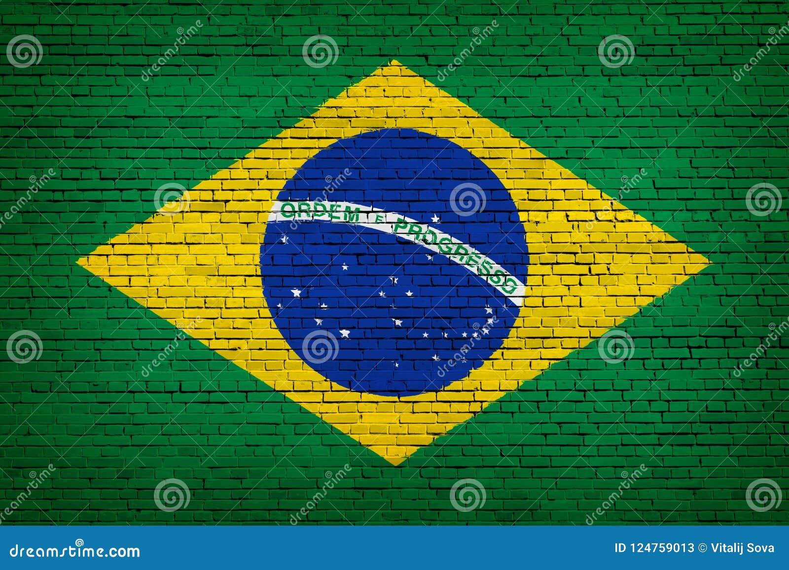 Nationale vlag van Brazilië op een baksteen