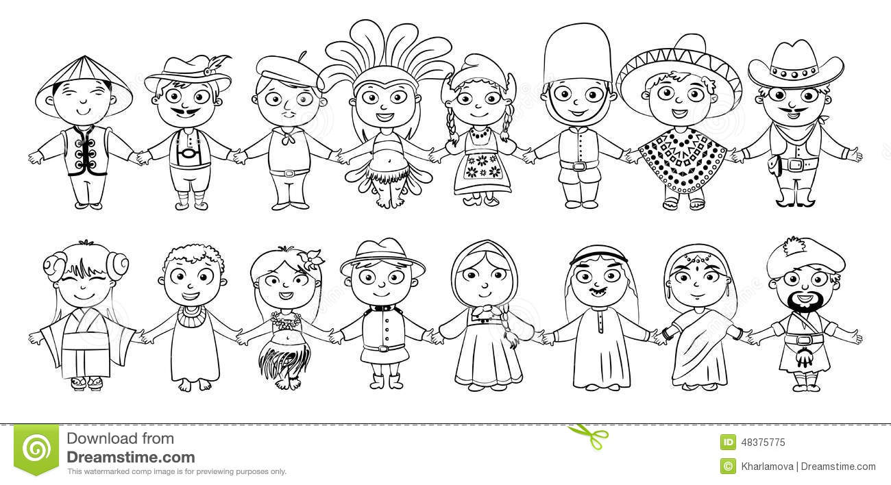 Niños De Diferentes Nacionalidades Para Colorear: Nationalities Stock Vector. Image Of Clothes, Arab