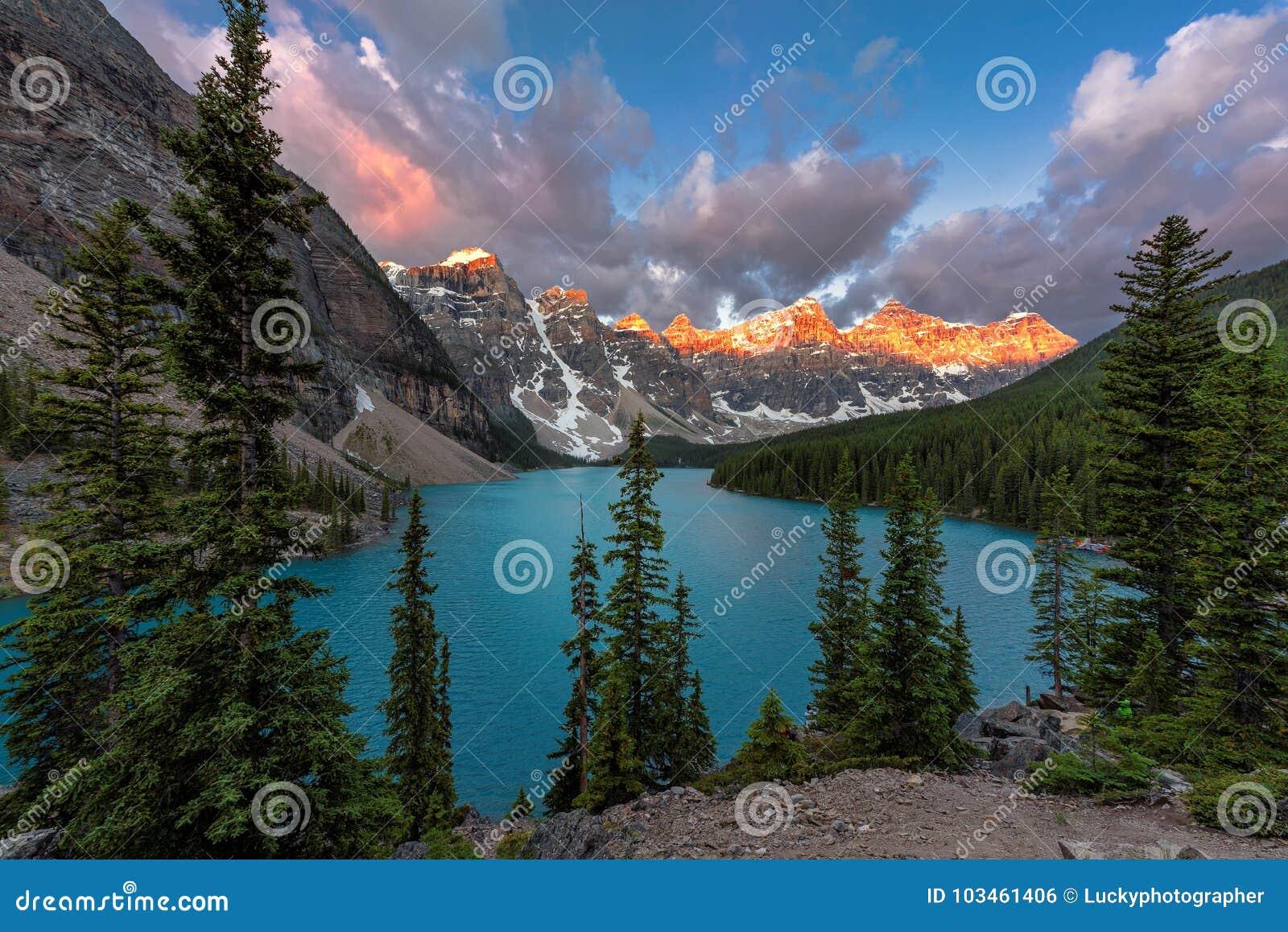 Nationalpark för banff Kanada lakemoraine