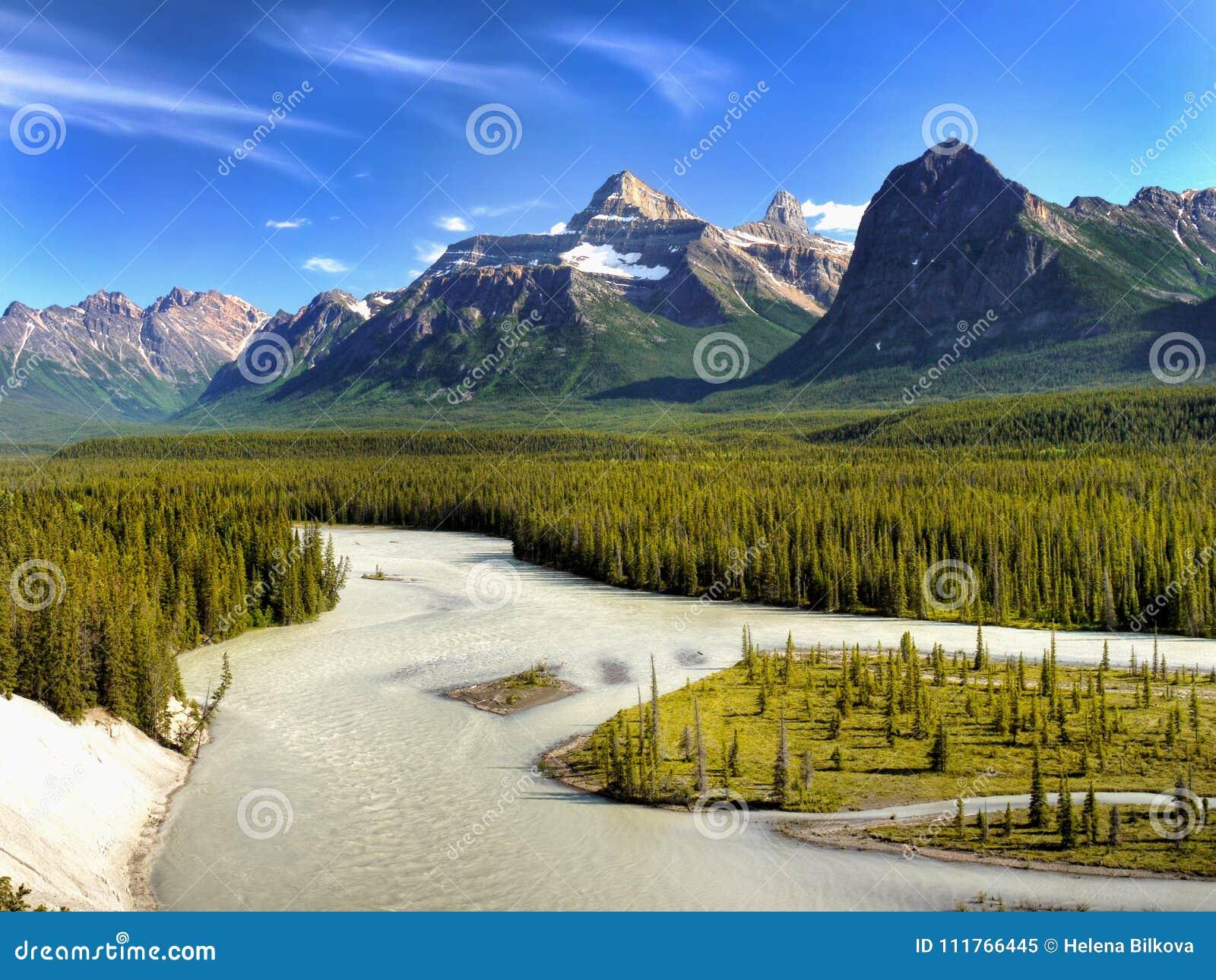 Nationalpark Kanadas, Banff, Gebirgsfluss-Szene