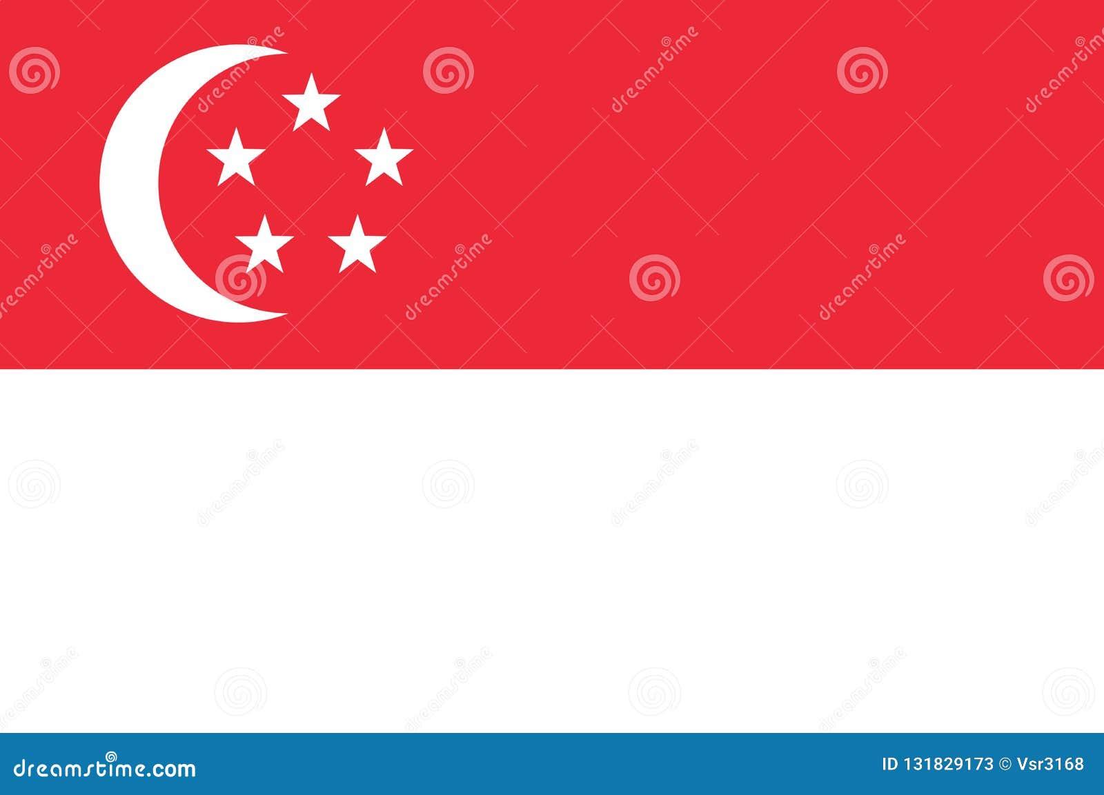 Nationsflagga av Singapore Bakgrund med flaggan av Singapore