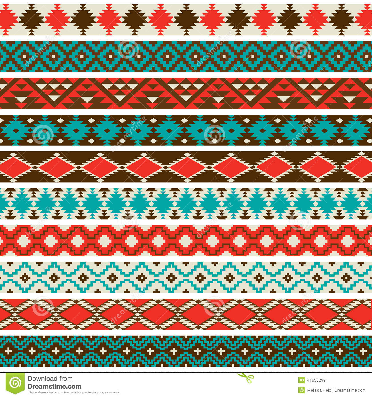 Native American Border Patterns Stock Vector
