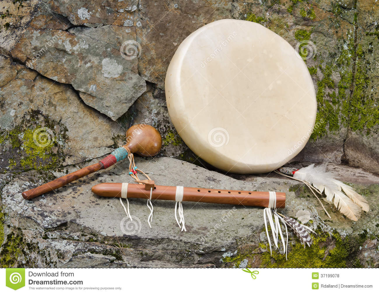 Native American Drum with Flute and Shaker..