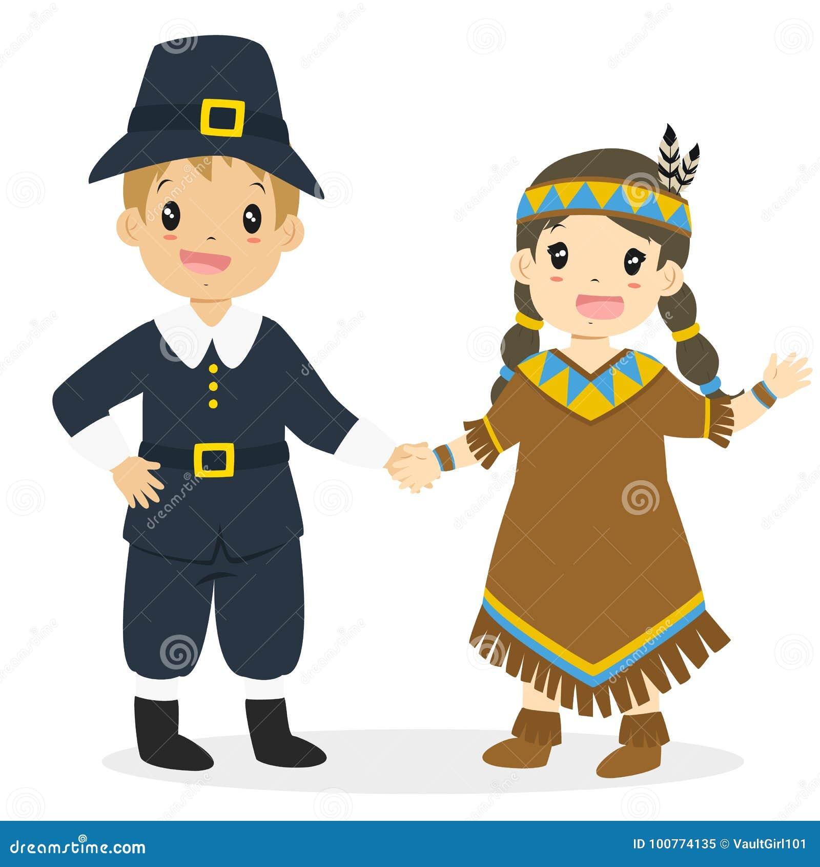 Download Native American Girl And Pilgrim Boy Cartoon Vector Stock