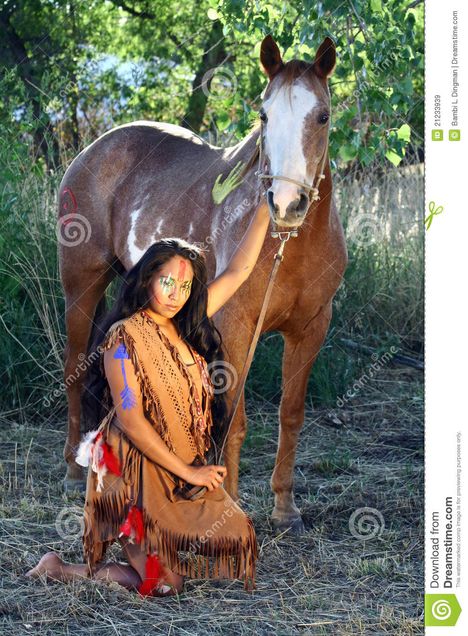 native american and her horse royalty free stock images image