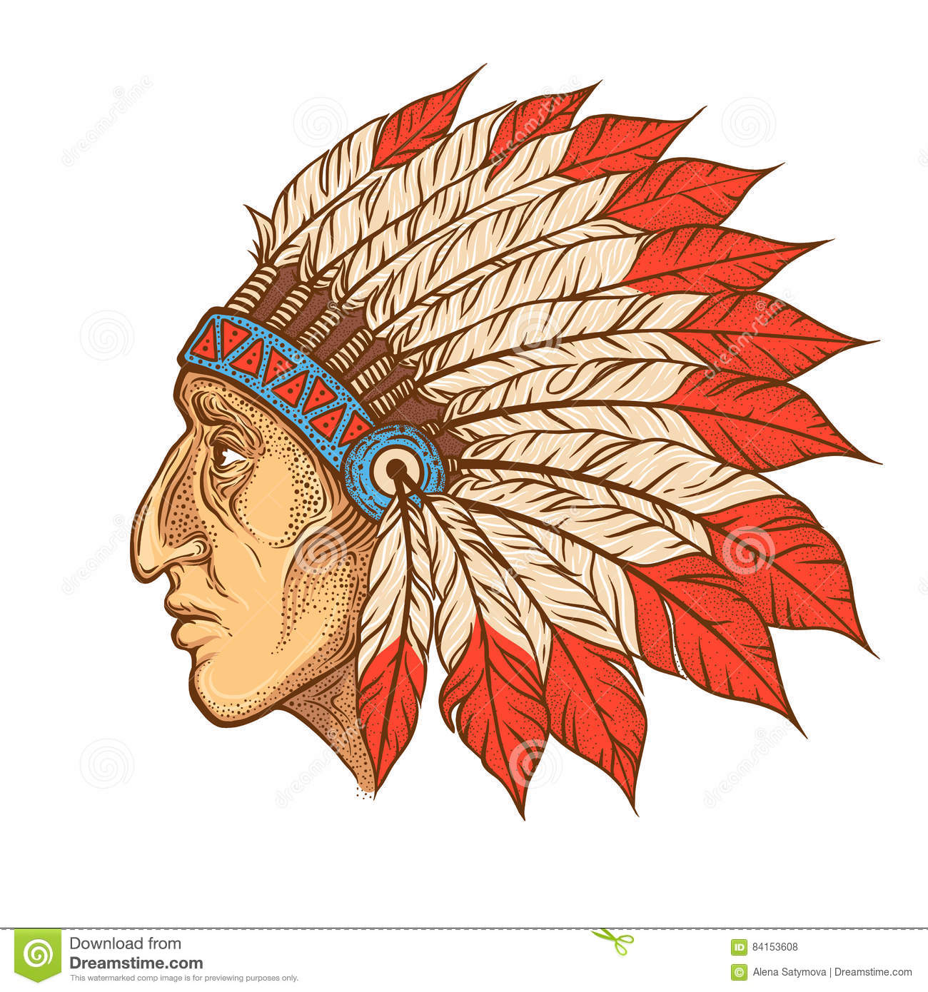 a8d3255450ccf Native American Indian chief head profile. Vector vintage illustration.