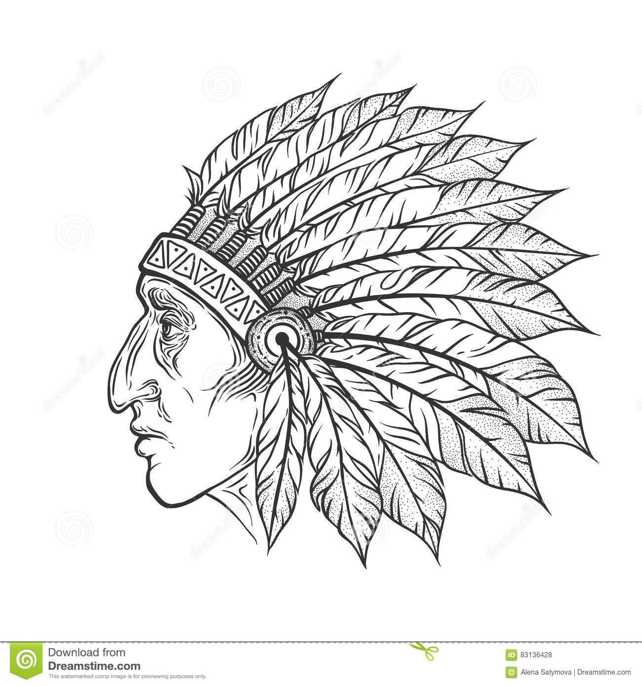 1ed2e4a8dd0a8 Native American Indian chief head profile. Vector vintage illustration.  Hand drawn style. Blackwork tattoo. Bohemian element