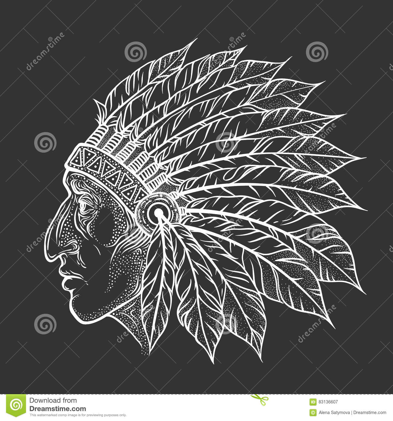 1e548d2bf Native American Indian chief head profile. Vector vintage illustration.  Hand drawn style. Blackwork tattoo. Bohemian element
