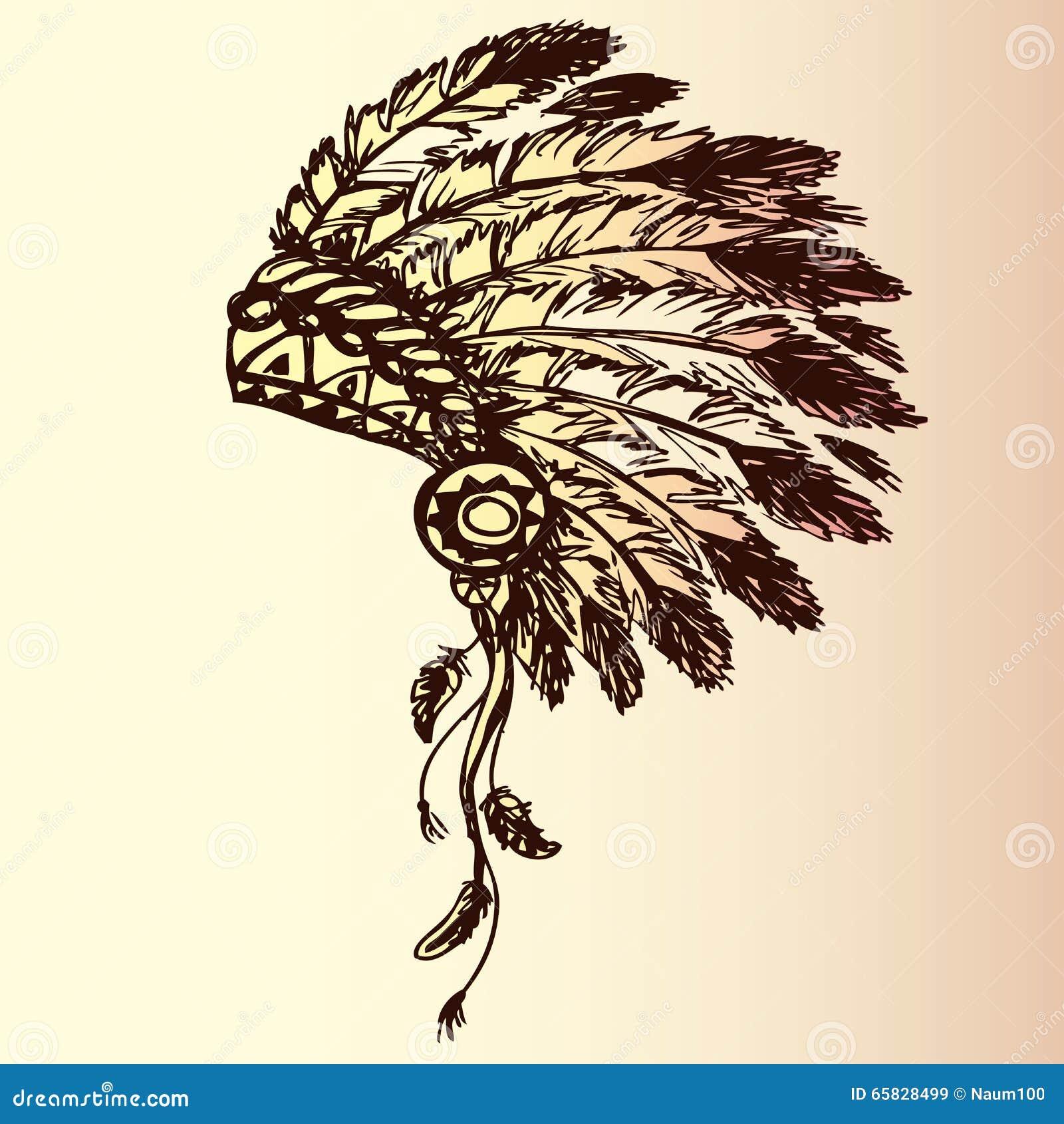 Native American Indian Chief Headdress Stock Vector - Illustration