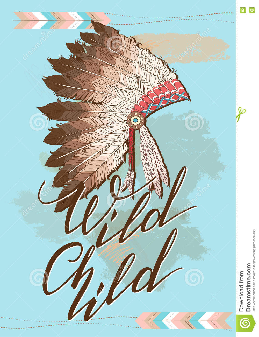 native american indian chief headdress with quote wild childvector color illustration of indian tribal