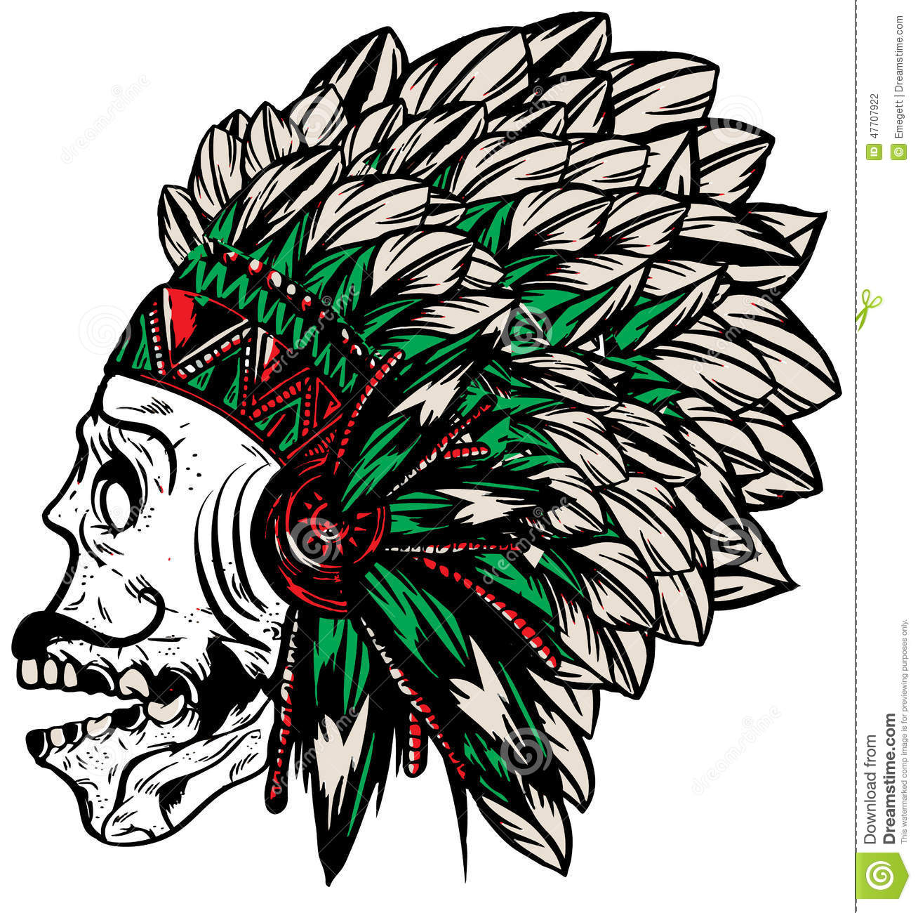Native American Indian Chief Headdress T-shirt Graphics Stock ...