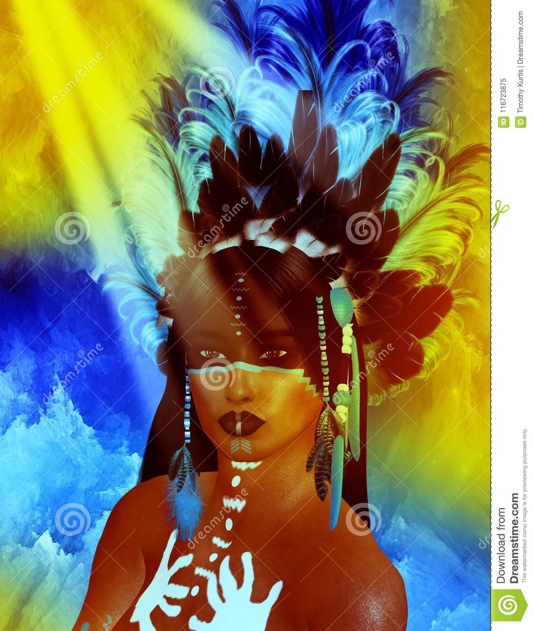 Native American Indian female Beauty, sunset background.