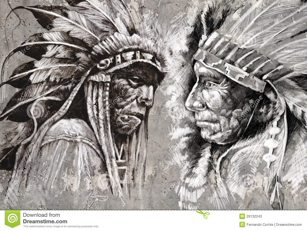 indian drawings American chief