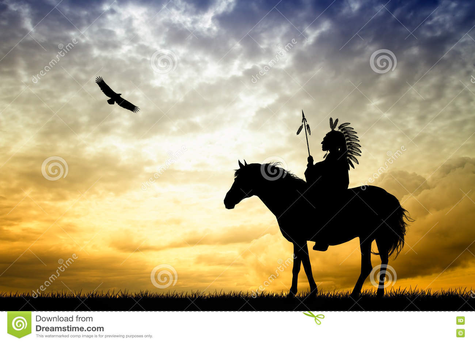 Native American Indian On Horse Stock Illustration Illustration Of Native Sunset 80750868